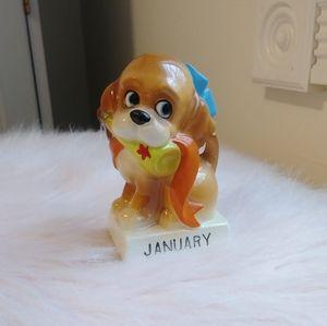 Vintage Kitsch Norcrest Calendar Dog Figurine